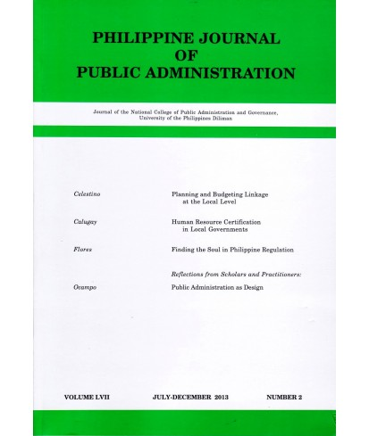 Philippine Journal of Public Administration - Delayed Publication