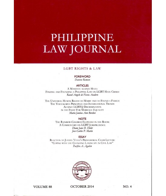 Philippine Law Journal - Delayed Publication